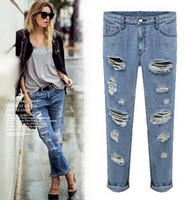 ladies trousers - 2014 New Fashion Elegant Slim Legs Women Jeans Denim Long Pants Sexy Distrressed Harem Style Lady Trousers ecc1732