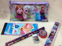 Wholesale 2015 factory price Frozen stationery set for Students Office School Supplies Frozen Pencil Cases Frozen Bags Frozen Ruler Froz