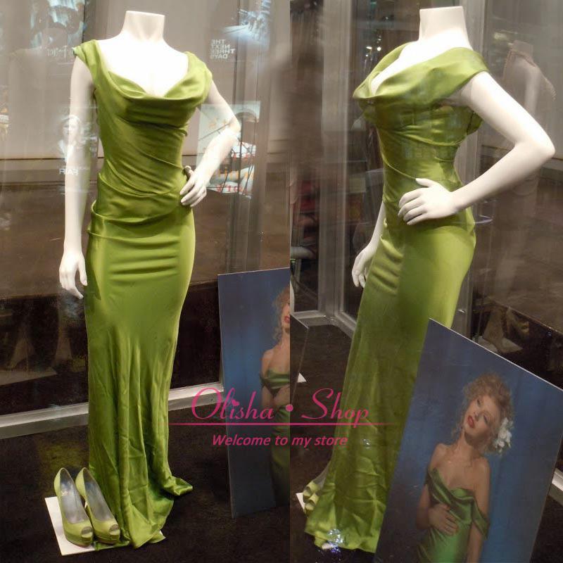 christina aguilera green dress burlesque replica off the shoulder silk