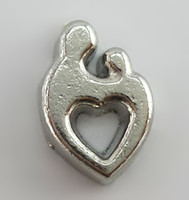 Charms Slides, Sliders Hearts, Love new arrival Silver heart shape floating charms for glass memory living floating locket pendant Xmas gift no locket