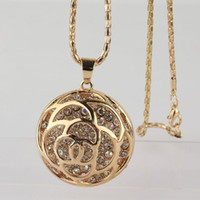 Wholesale 18k Yellow Gold Filled Round Clear Austrian Crystal quot Sweater Chain Pendant Necklace