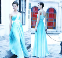 blue one shoulder crystal bridesmaid dresses long 2014 summe...