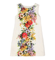 Wholesale New Monsoon Autumn Children Girl Tank Flower Printed Dressy Princess Dress Kid High Quality Party Vest Dresses White M0580