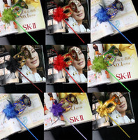 plastic masquerade masks on stick - new gold cloth coated flower side Venetian Mask Halloween Mask masquerade party mask on stick flower mask