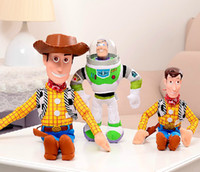 8-11 Years brand toys - Brand New Hot sale cartoon WOODY Plush toy BUZZ Lightyear and Doll Soft cute Toy