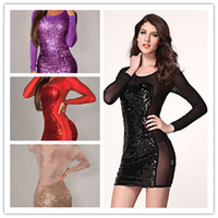 Wholesale 2014 New Plus Size XXXL Gold Black Red Purple All Over Sequined Sheer Long Sleeves Hollw Out Mesh Insert Bodycon Club Dress B4513