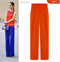 Wholesale 2014 New Fashion Elegant Sexy Women Ladies High Waist Wide Leg Long Pants OL Casual Trousers S M L XL ecc1735