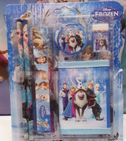 Wholesale 2014 Europe New Frozen Anna Elsa Practical Rubber Ruler Pencil Pencil Sharpener Kids Stationery Set Children Wallet School Supplies E0434
