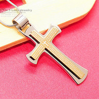 Wholesale Bible Scripture Cross Pendant Necklace For Mens Stainless Steel Jewelry Gold Silver Blue Black WP406