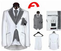 Wholesale 2014 hot sale mens suits wedding groom Tuxedos for wedding one button five pieces black white Vintage Best Men Classic Black