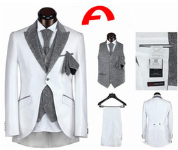 Wholesale 2015 Hot Custom Made Mens Suits Arabic Groom Tuxedos High Quality One Button Five Pieces Black White Vintage Best Men Classic