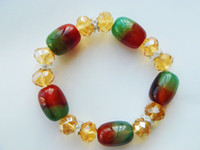 Wholesale new arrival red and green cylinder agate clear crystal faceted oval beads rhinestone circle fashion bracelet