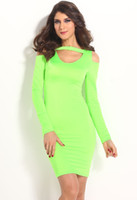 Casual Dresses Bodycon Dresses Summer New Sexy Bright Green Cut out Mesh Long Sleeves Women Bodycon Dress women clothes suit for Summer, Spring, Autumn B4514
