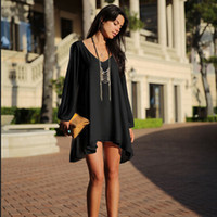 Wholesale 2016 Sexy Women s Chiffon Sleeveless Party Evening Cocktail V neck Short Mini Dress Slit Sleeve Loose Plus Size Summer Blouson