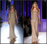 Reference Images Strapless Tulle New Grogeous Zuhair Murad Dazzling 2014 Evening Dresses Shiny Strapless Mermaid Long Tulle Sequin Beaded Pageant Dress Bling Celebrity Gowns
