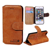 Wholesale For iphone S S PHOENIX Retro Wallet Nubuck Leather Case Vintage Cover With Credit Card Stand For iphone5