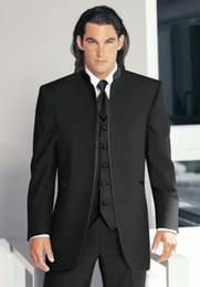 Wholesale Classic Vintage Top Black Groom Tuxedos Stand Collar Best Man Suits Wedding Groomsman Men Wedding Suits Bridegroom Jacket Pants Tie Vest