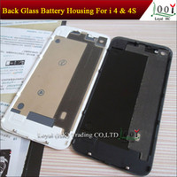 Wholesale Back Glass Battery Housing Door Cover Replacement Part GSM Black White Color for iphone S With Flash Diffuser