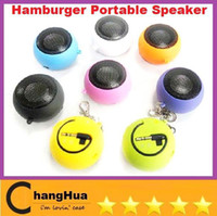 Wholesale Portable pocket Mini Hamburger Speaker for iPhone iPad iPod Laptop PC MP3 Audio Amplifier V507