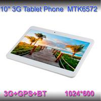 10 Pouces de téléphone de PC de Comprimé d'appel GPS bluetooth 1 go de ROM 8G MTK6572 Dual Core 1.2 Ghz Wifi Double Caméra logement de la Carte SIM android 4.2 Phablet