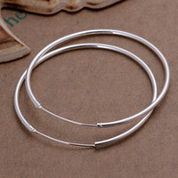 Wholesale Retail Fashion Beautiful Smooth Circle Style Sterling Silver Hoop Earrings