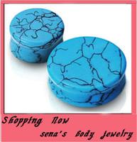 Wholesale F50 turquoise nature stone Flesh Tunnel Piercing Body JewelryEarrings Ear plug mix siz