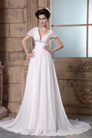 Wholesale 2014 New Designer Best Selling V neck Cap Sleeve Chiffon Beading Crystal Pleat Court Train Wedding Dresses Button Vestido De Noiva Casamento