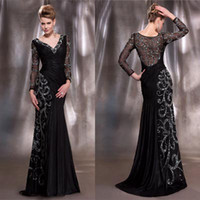 Wholesale Generous V Neck Taffeta Appliques Evening Dress Crystals Prom Long Sleeves Pageant Dress Beads Special Occasion Dress