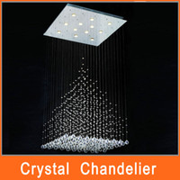 Modern Hotel 15 ~ 20sq.m Square Crystal Line Pendant Lamp Minimalist Bedroom Living Room 40cm 50cm 60cm 70cm 80cm Chandelier Creative LED Ceiling Lights