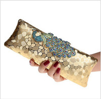 Wholesale Factory New Style Women s Peacock Evening Clutch Bag Purse Print Dot Clutch Handbag Black Gold Silver Party Dinner Purse hight quality