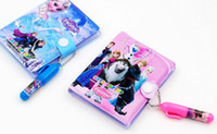 Wholesale 160pc Pre Sale Frozen Elsa Anna New Children Book Set Leather Notebook The Glue Notebooks With Pens Kids Child Stationeries Z456