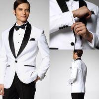 Wholesale White Jacket With Black Satin Lapel Groom Tuxedos Groomsmen Best Man Suit Men Wedding Suits Classic vintage Jacket Pants Bow Tie Girdle