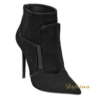 For Woman Black Ankle Boots Stitching Metal Decoration Cowboy Boots