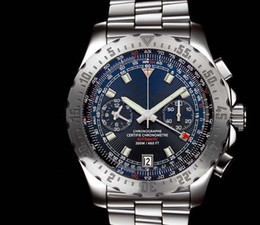 Top sale Fashion Chrono watch for Men Quartz stopwatch stainless watches Steel Blue Dial Luxury Men Wristwatch 0017