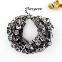 Wholesale Fashion Women s Summer Rock Style New Rhinestone Vintage Silver Color Wide Bracelets