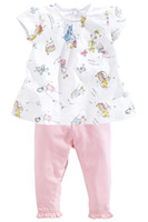 Girl Spring / Autumn Short girls'clothes suits Baby outfits cute print T-shirts tees pink trousers long pants leggings T40