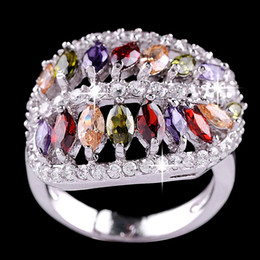 Wholesale custom colored gemstone wedding ring with diamond shaped leaves lord of the rings banquet accessories for women