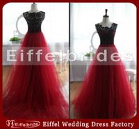 Wholesale Customize Classical Prom Evening Dress with Sexy Sheer Black Lace Crew Neck and Elegant A line Glamorous Dark Red Puffy Tulle Evening Gowns