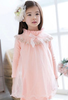 Cheap 2014 autumn girls 3 colors gauze long sleeve dresses children kids flower bowknot lace hem fashion korean dress clothes J072803#