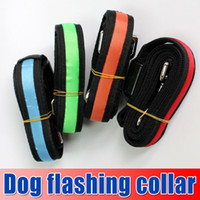 Wholesale New Colorful Flash Dog Leashes Night flashing collar amp led Leashes nylon webbing Dog Drag belt Red Yellow Orange Blue Green churchill