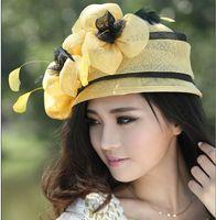 al por mayor vestidos de sol de color amarillo-Las mujeres calientes de la venta caliente libre del envío visten la tapa amarilla del sombrero de Sun de las mujeres del sombrero de Sinamay de Wome Sinamay del pelo del invierno del vestido de las señoras de la manera
