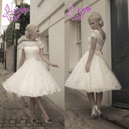 Wholesale Newest Design Short A Line Tea Length Lace Wedding Dresses With Cap Sleeve Detachable Sash s Vintage Bridal Gowns W1032 Sheer Top