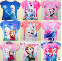 Girl kids cartoon clothing - 2014 New Arrival Summer Frozen Children T Shirts Fashion Cartoon Print Girl Casual Clothing Kid Clothes frozenc126