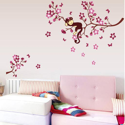 Cute Monkey And Pink Flower Blossom Tree Wall Art Decor Decal Baby Girls Room  Nursery Kids Children Bedroom Removable Wall Sticker Kids Wall Sticker Kids  ... Design Inspirations