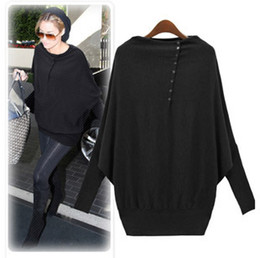 Wholesale New arrival New Women s Batwing Sleeve Long sleeve Loose Sweater Europe Fashionable Ladies cardigan Pullover