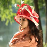 hat lady red - Hot Sale Fashion Elegant Women Red Hat Church Sinamay Hat Sinamay Ribbon Sinamay Fabric Ladies Hat Women Top Beautiful Hat