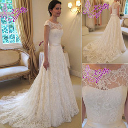2014 New Style Lace Wedding Dresses Vintage A-Line Jewel Bow Sash Cap Sleeve Zip Back Court Train Ivory Bridal Gowns