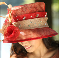 Red sinamay fabric - Hot Sale Fashion Elegant Vintage Handmade Fabric Haircord Sinamay Church Hat Derby Wedding Ladies Red Flower Feathers Traveling Sunhat