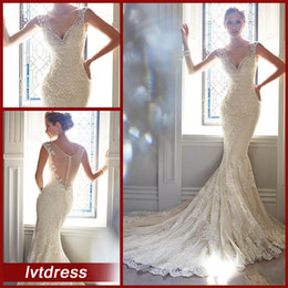 Wholesale Sexy perfect Lace Wedding Dresses Bridal Gowns Mermaid V Neck Chapel Train Lace Tulle Beads Foraml Bride Dresses