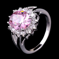 Wholesale jewelry cheap pink wedding ring with blue gem diamond banquet accessories for women buy direct from china